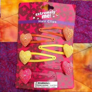 90s-Y2K Sparkle Glitter Heart Hair Clips 6 Pack